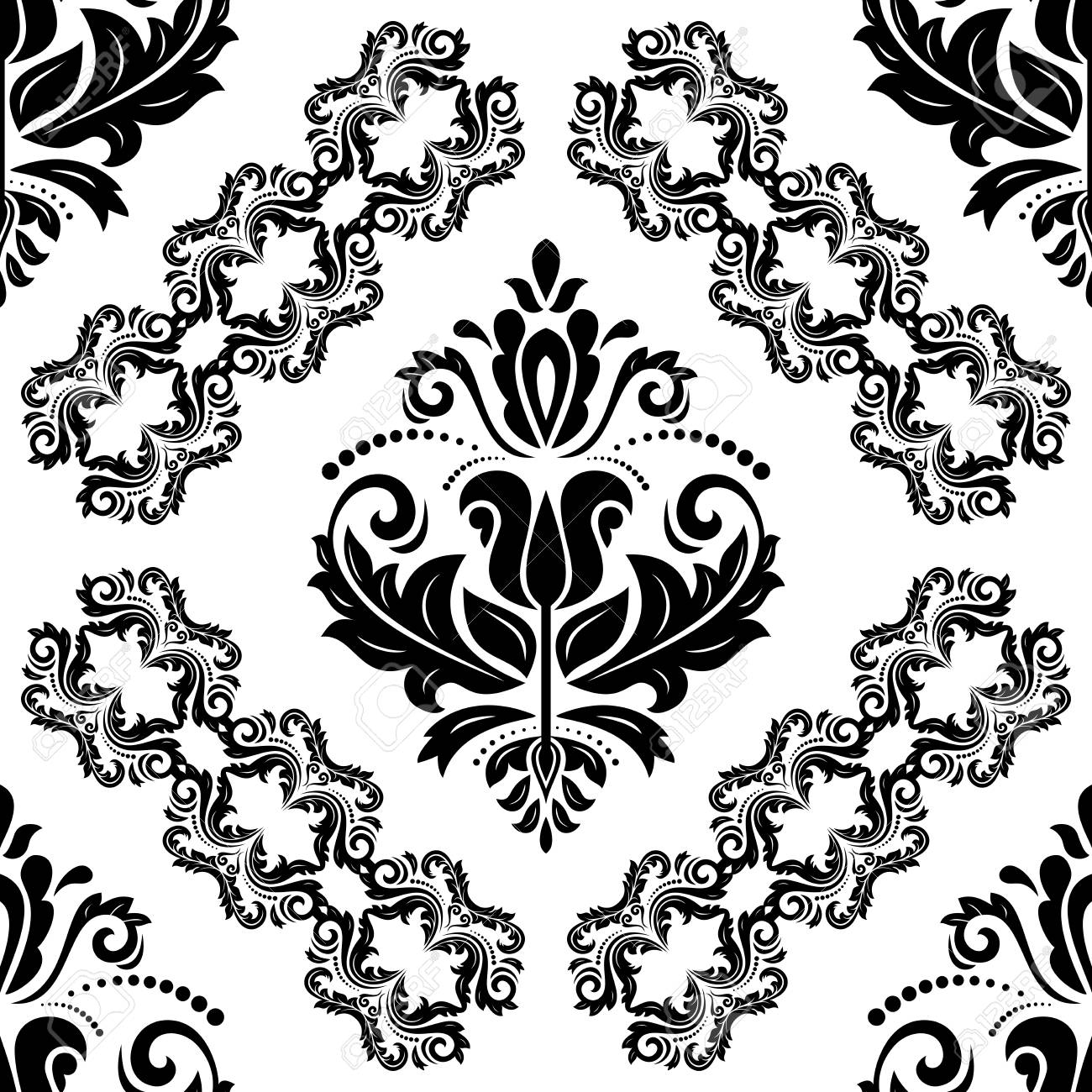 Oriental Classic Ornament Seamless Abstract Background Black And White Damask Wallpaper Stock Photo