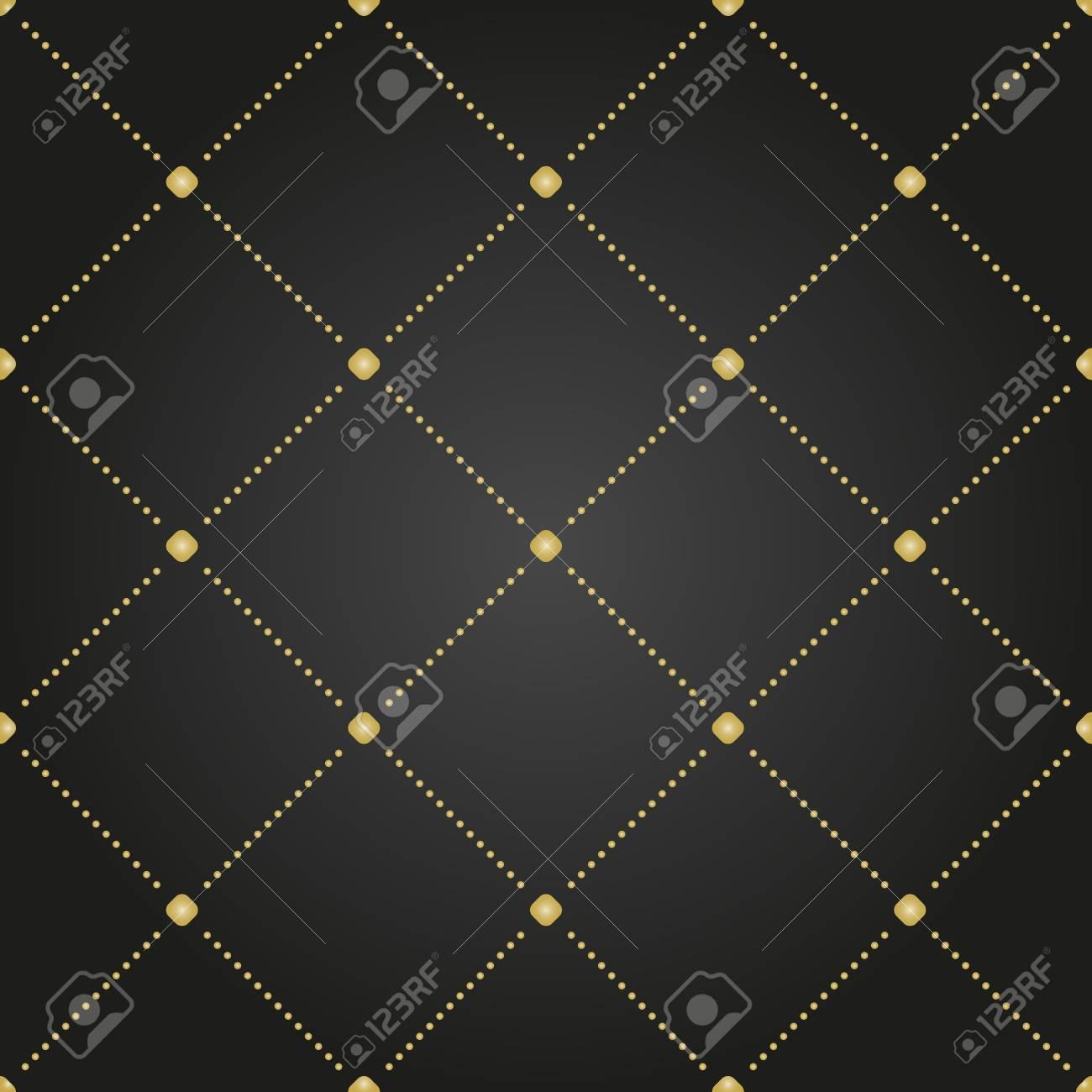 ドットの幾何学的なベクトルの黒と金のパターン 壁紙や背景の