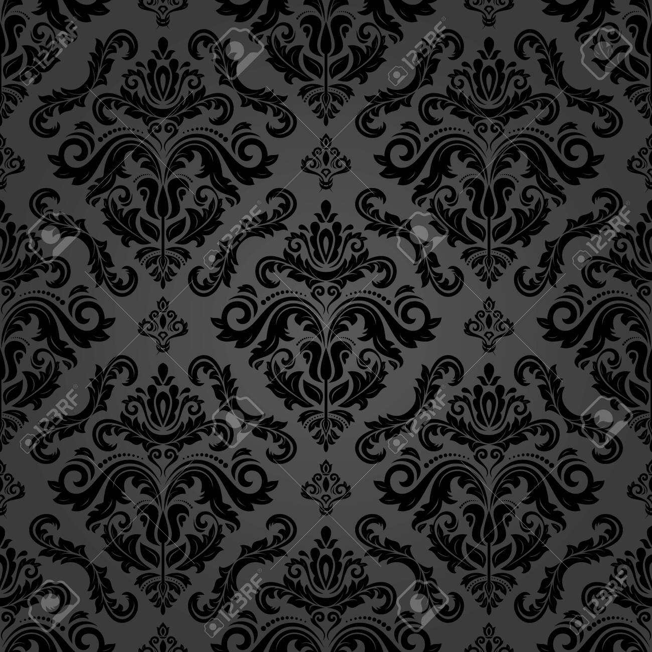 Orient classic pattern. Seamless abstract background with vintage elements. Orient dark background - 125316572