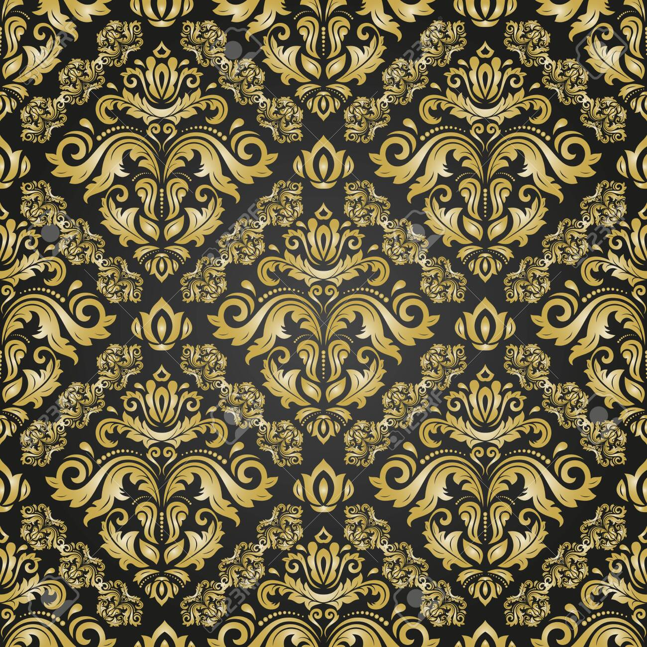 Orient vector classic pattern. Seamless abstract background with vintage elements. Orient background. Black and golden ornament for wallpaper and packaging - 151810368