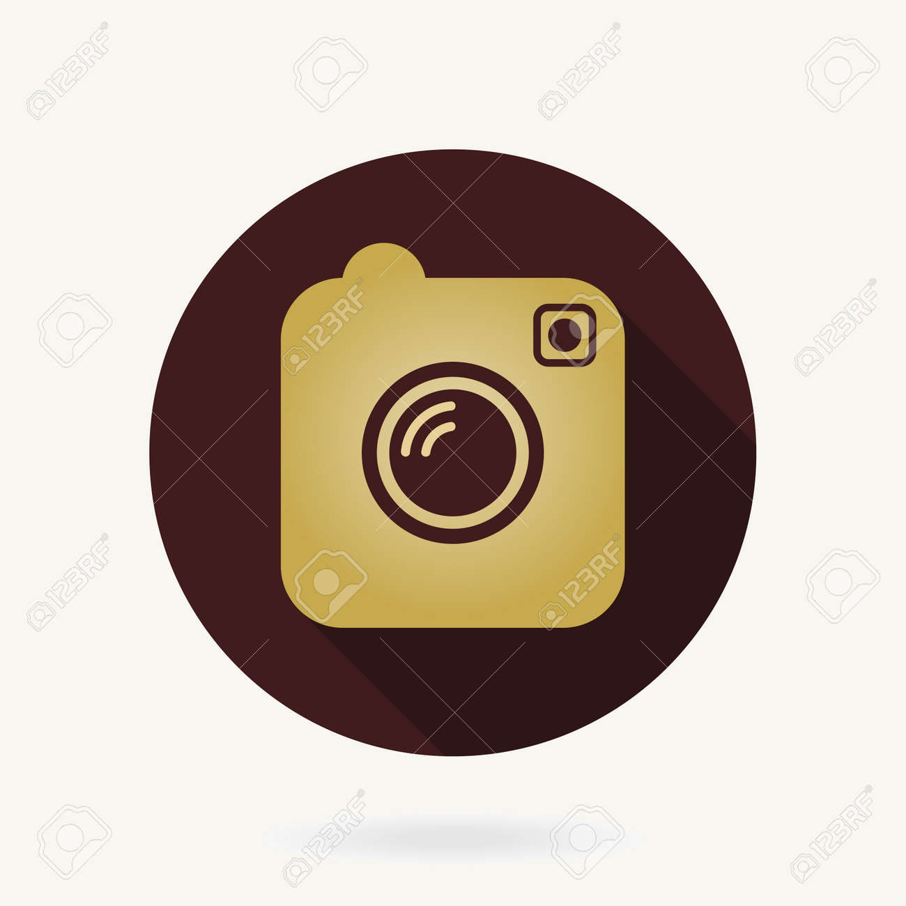 Camera Golden Flat Icon With Long Shadow - 167039511