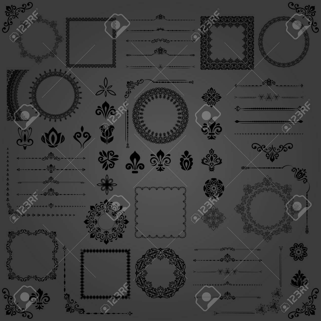 Vintage Set of Horizontal, Square and Round Elements - 167039479