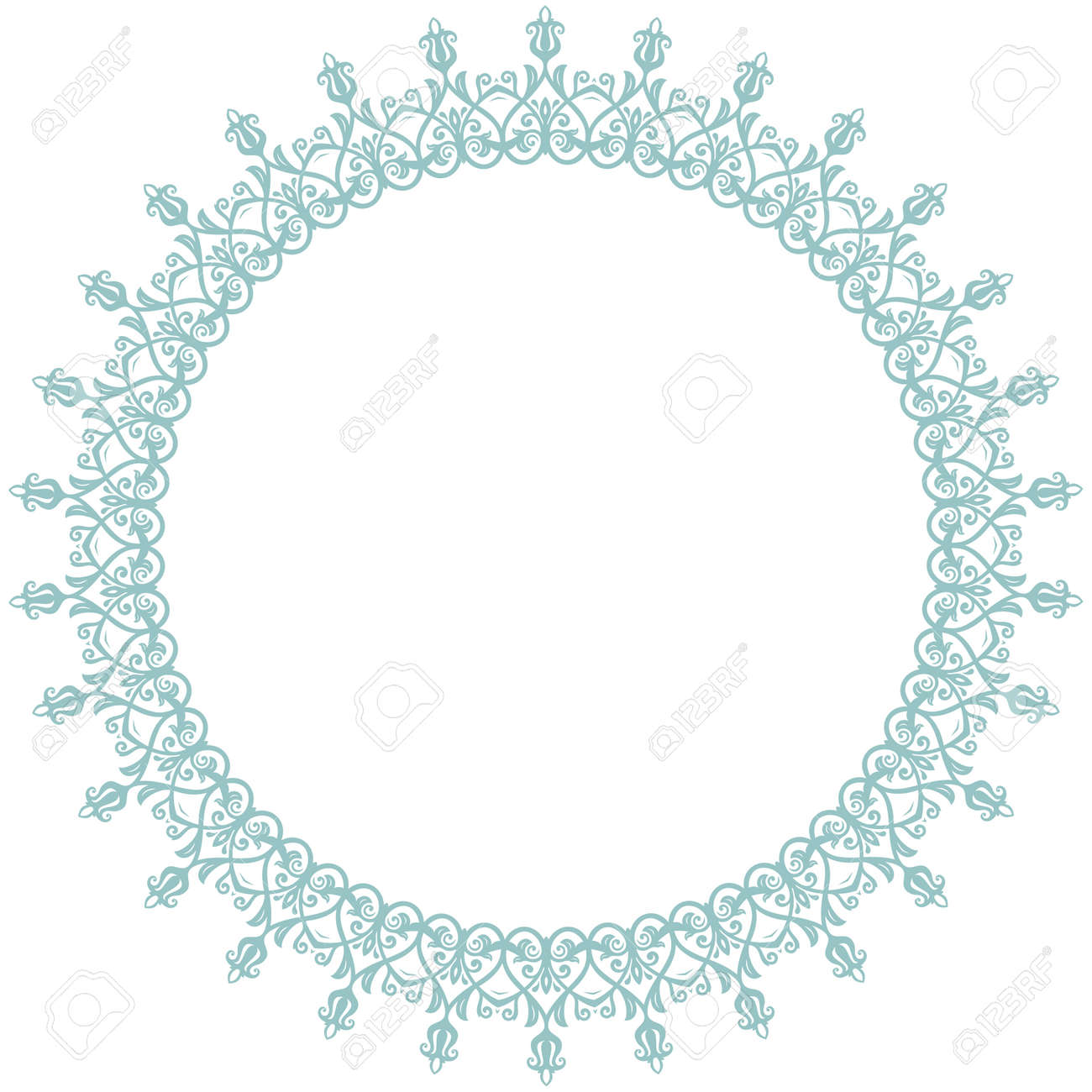 Oriental round frame with arabesques and floral elements. Floral border with blue vintage pattern. Greeting card with place for text - 167205904