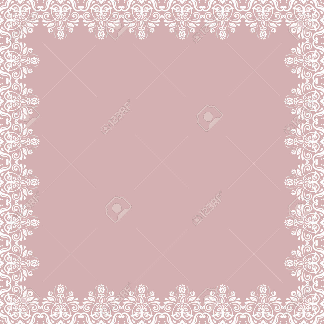 Classic square frame with arabesques and orient elements. Abstract ornament with place for text. Vintage pattern - 167205905