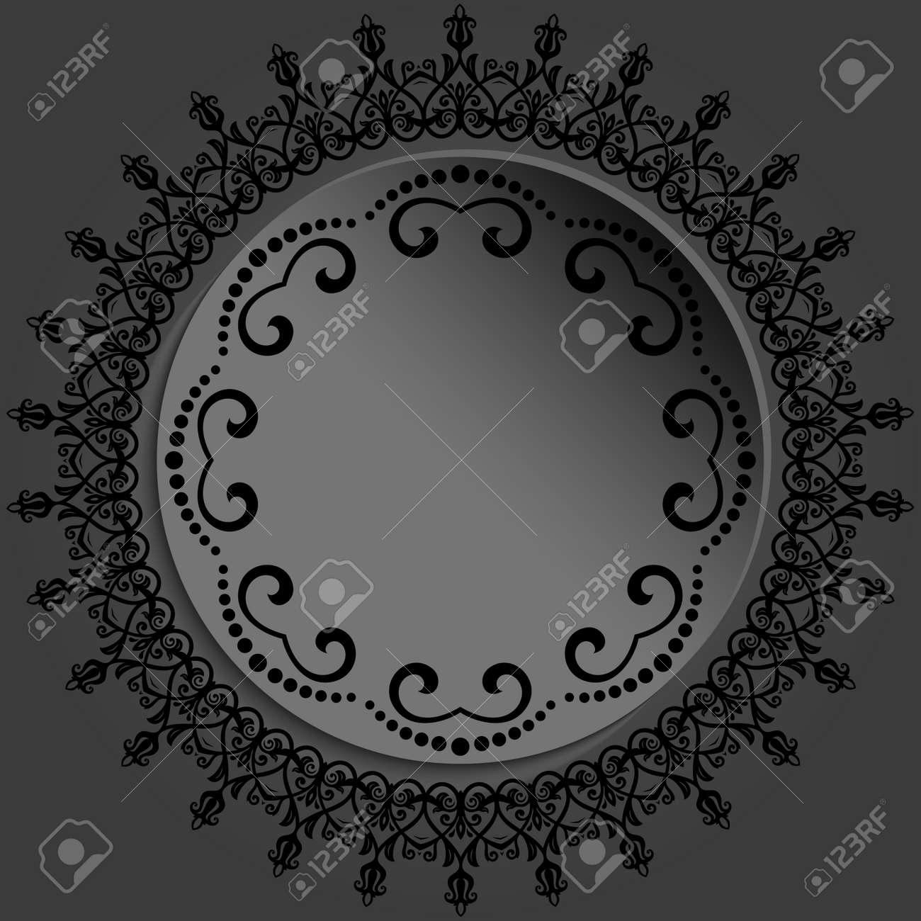 Round frame with floral elements and arabesques. Dark round pattern with arabesques. Fine greeting card - 167155947