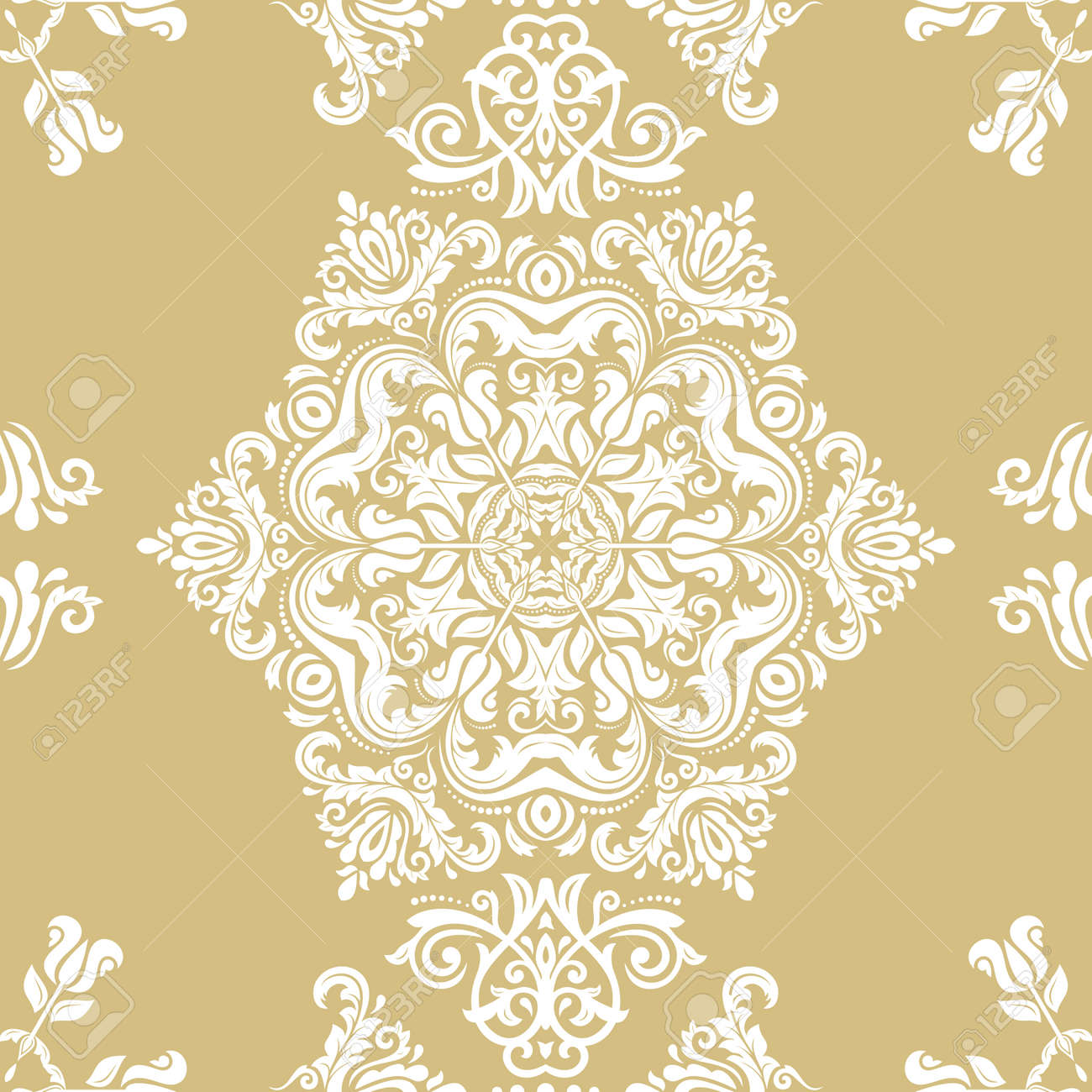 Orient classic pattern. Seamless abstract background with vintage elements. Orient golden and white background. Ornament for wallpaper and packaging - 167155948