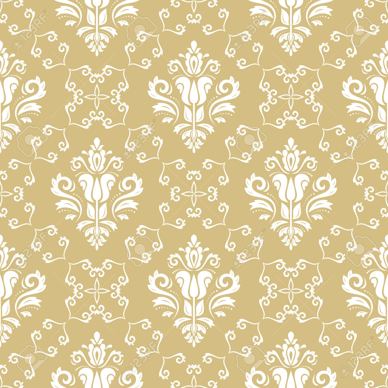 Classic seamless pattern. Damask orient ornament. Classic vintage yellow and white background. Orient ornament for fabric, wallpaper and packaging - 167155953