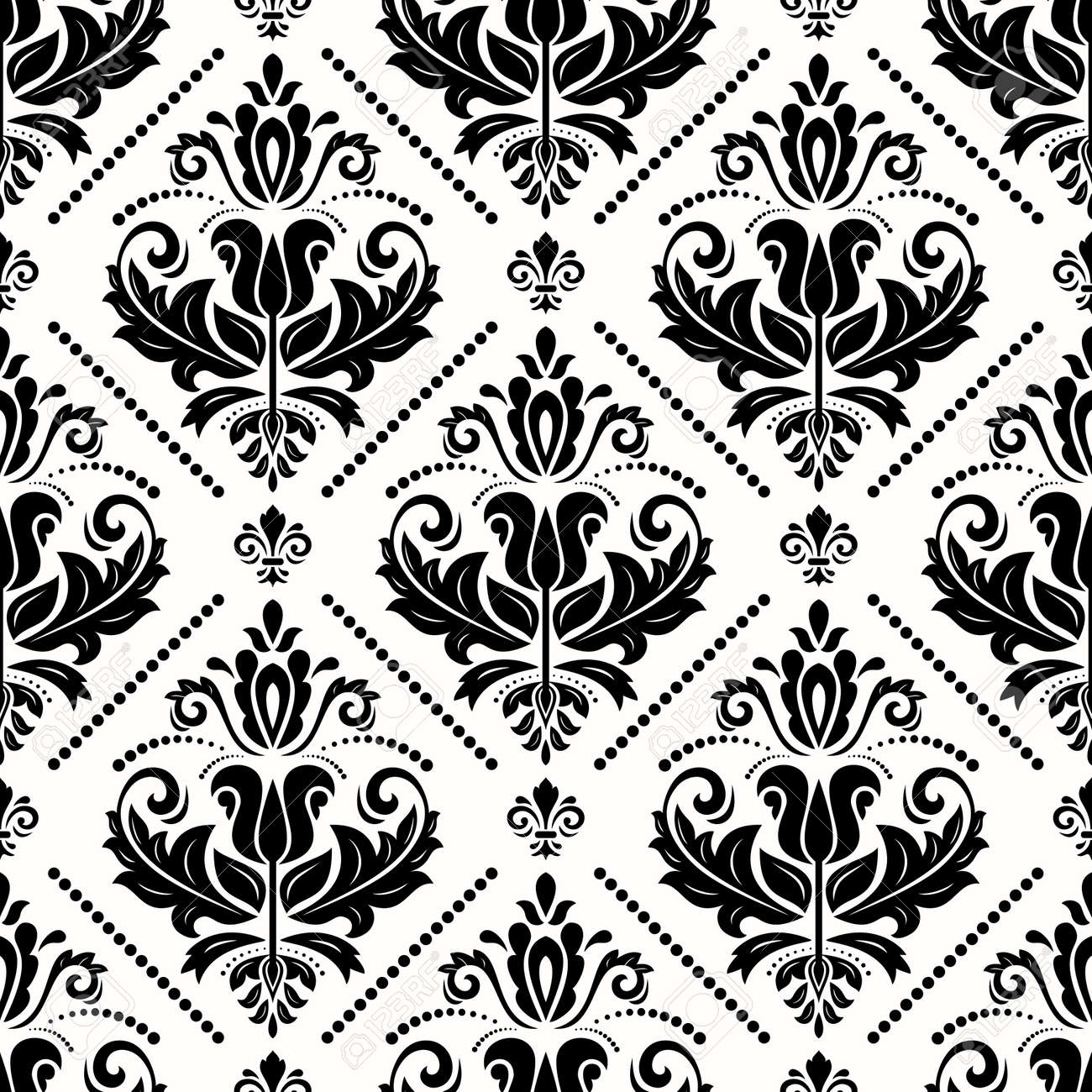 Classic seamless pattern. Damask orient ornament. Classic vintage background. Orient black and white ornament for fabric, wallpaper and packaging - 167155955