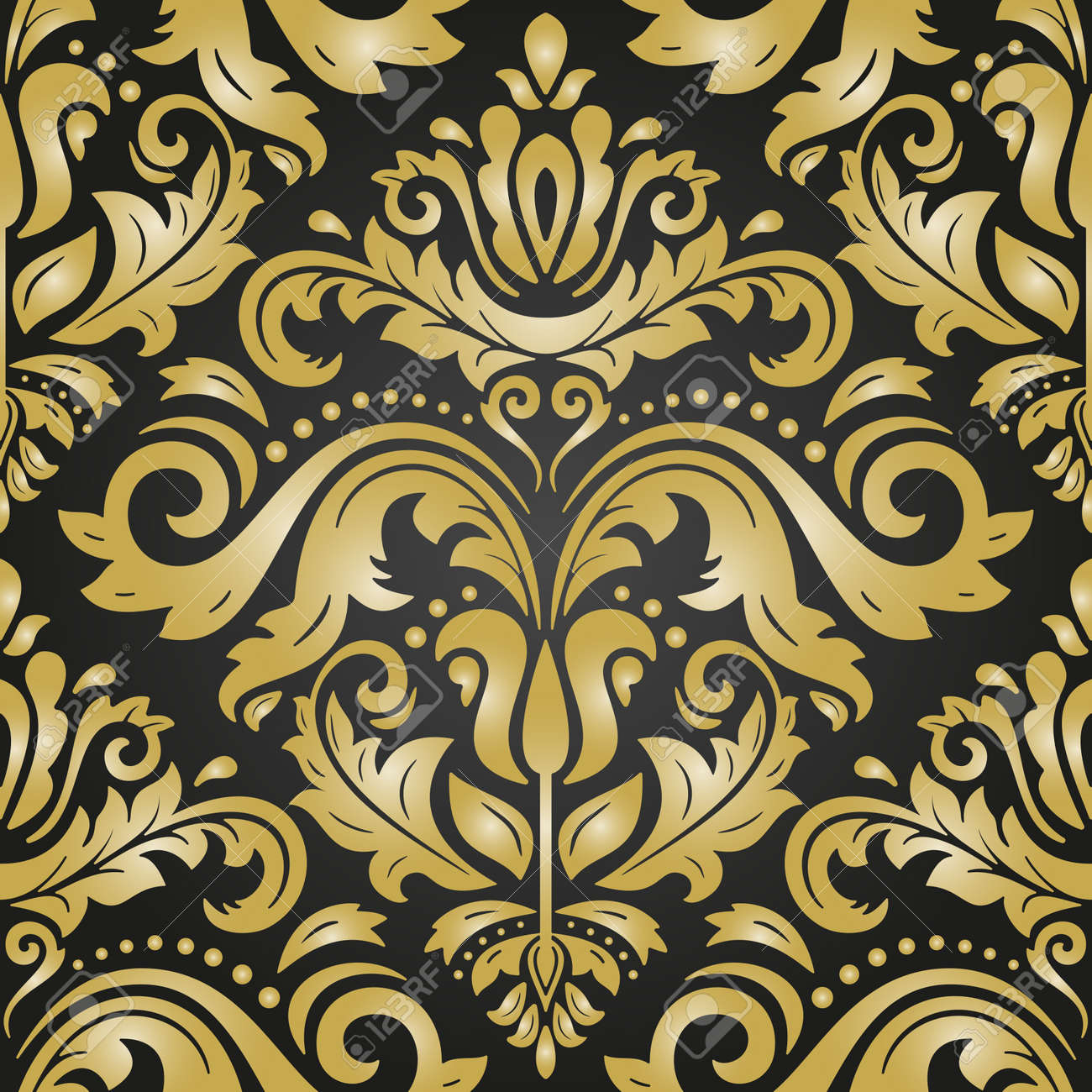 Classic seamless pattern. Damask orient ornament. Classic vintage black and golden background. Orient ornament for fabric, wallpaper and packaging - 169499779