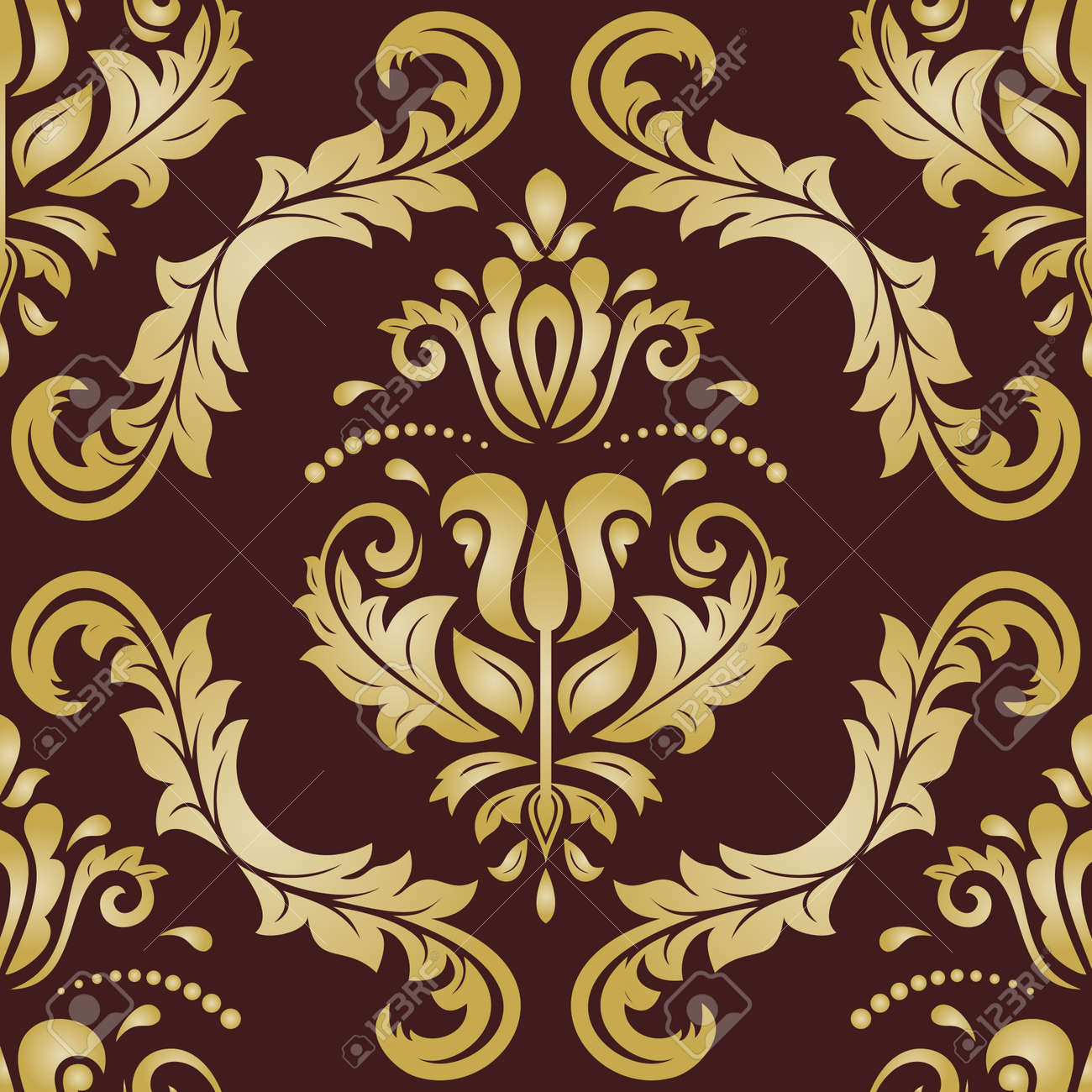 Classic seamless pattern. Damask orient brown and golden ornament. Classic vintage background. Orient ornament for fabric, wallpaper and packaging - 169499781