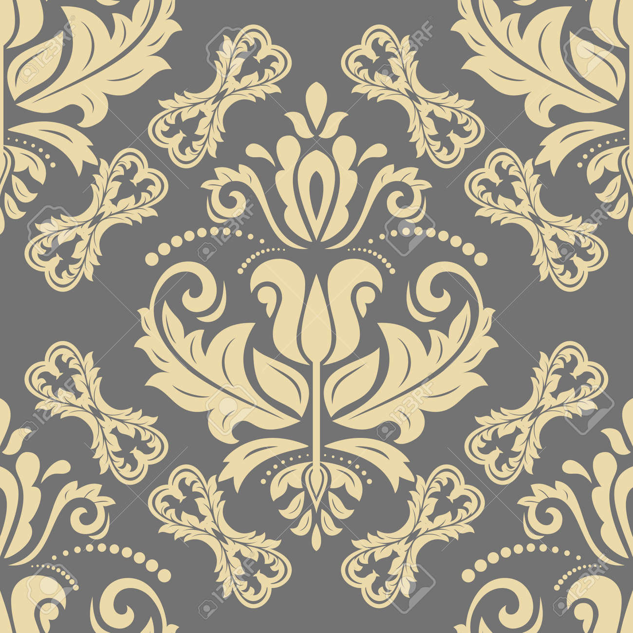 Classic seamless vector golden pattern. Damask orient ornament. Classic vintage gray and golden background. Orient ornament for fabric, wallpaper and packaging - 169559468