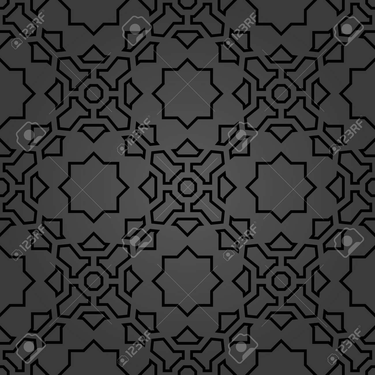 Seamless vector dark ornament in arabian style. Geometric abstract background. Pattern for wallpapers and backgrounds - 169559469