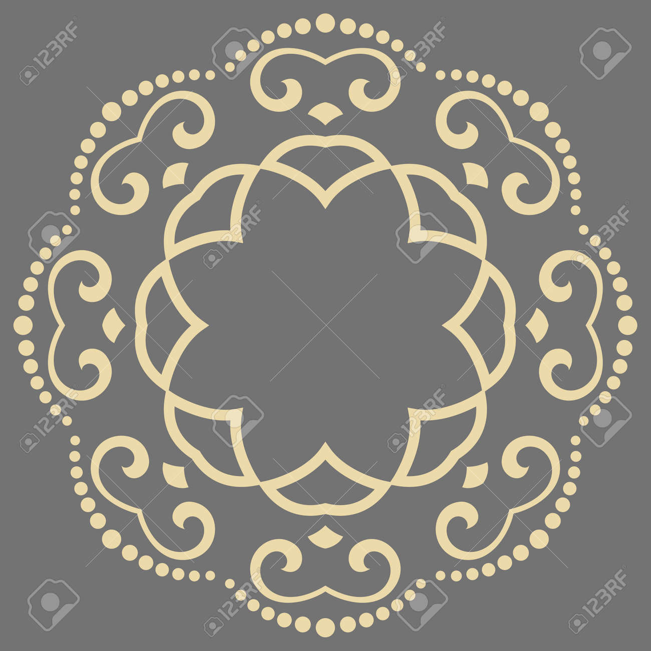 Elegant vintage ornament in classic style. Abstract traditional round golden pattern with oriental elements. Classic vintage pattern - 169559473