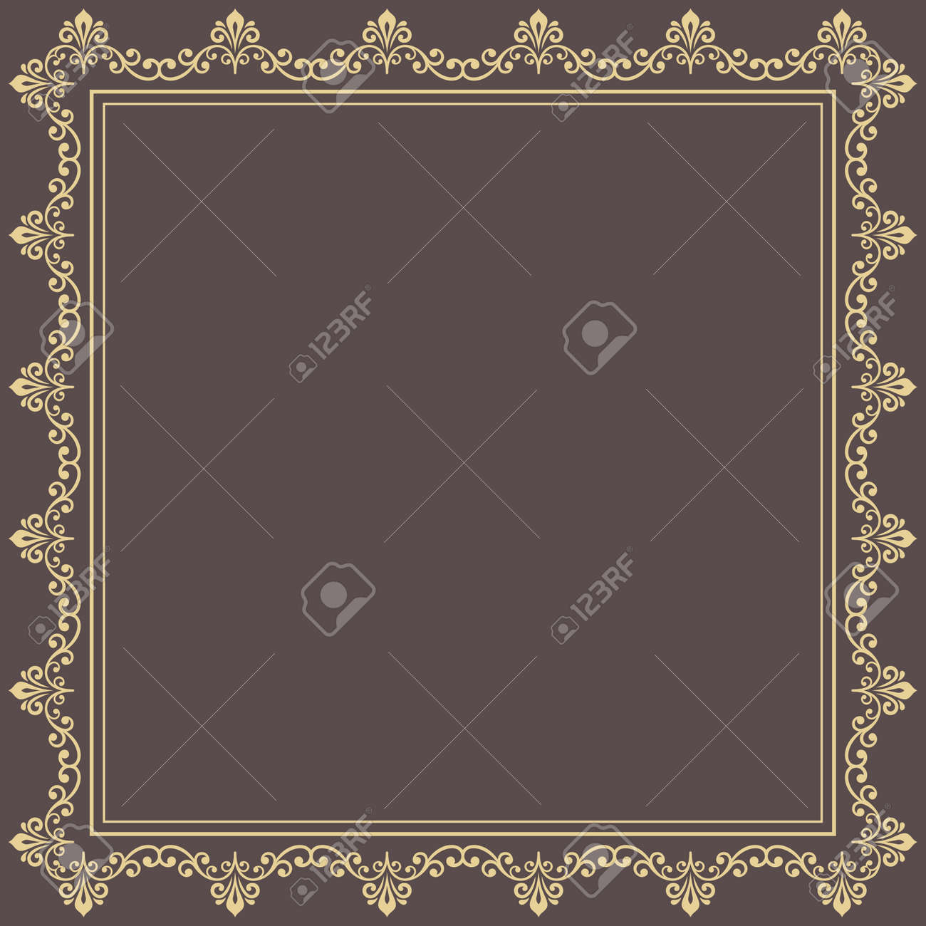 Classic square frame with golden arabesques and orient elements. Abstract ornament with place for text. Vintage pattern - 169559483