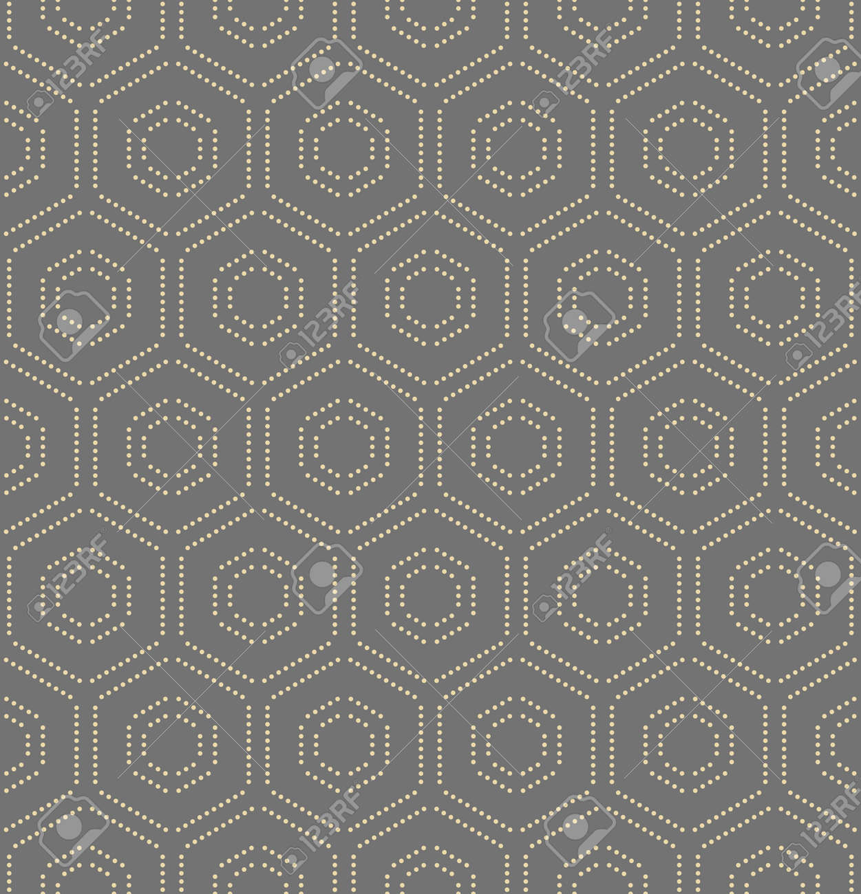 Geometric repeating ornament with hexagonal dotted golden elements. Geometric modern ornament. Seamless abstract modern pattern - 169559485