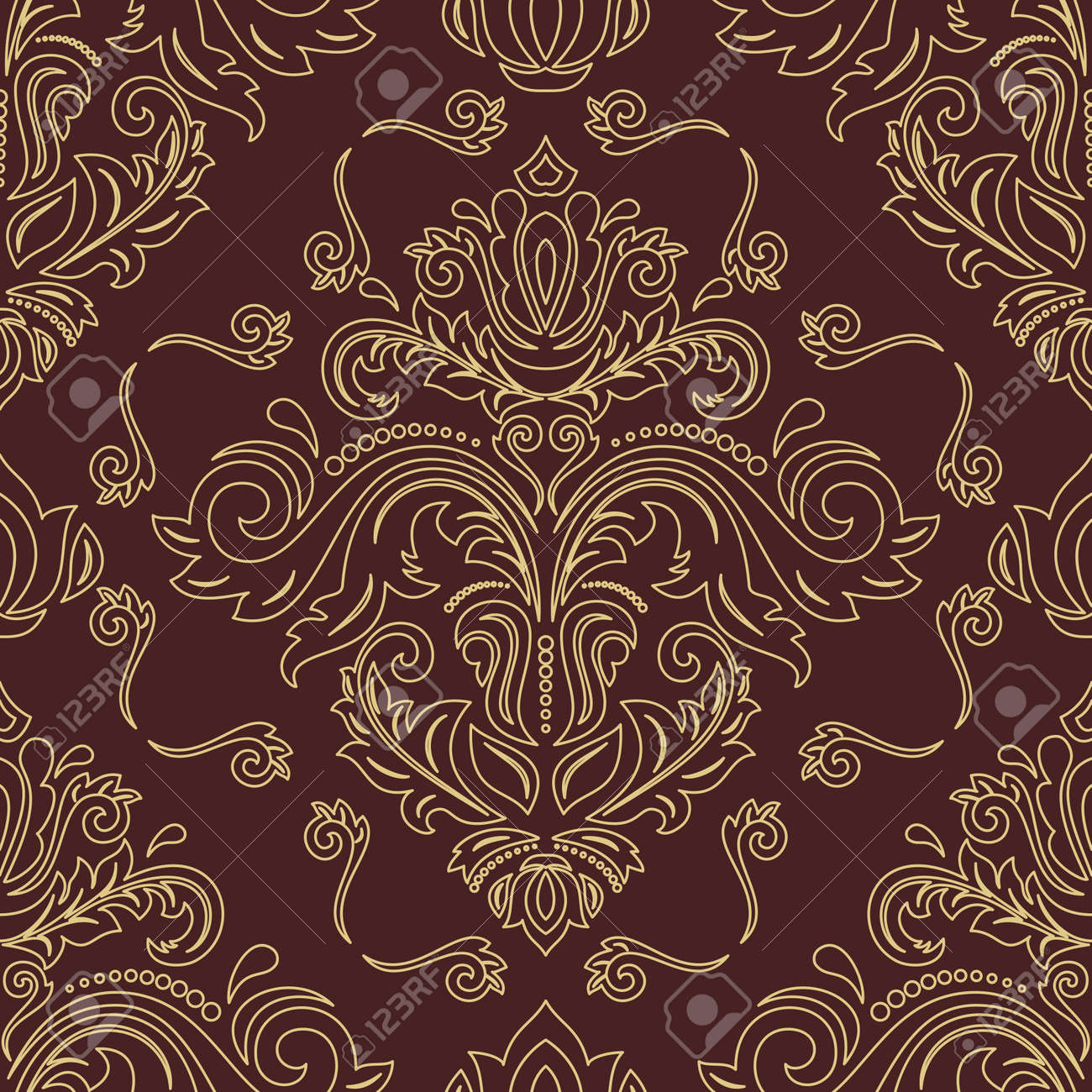 Orient classic pattern. Seamless abstract background with vintage elements. Orient brown and golden background. Ornament for wallpaper and packaging - 169559489