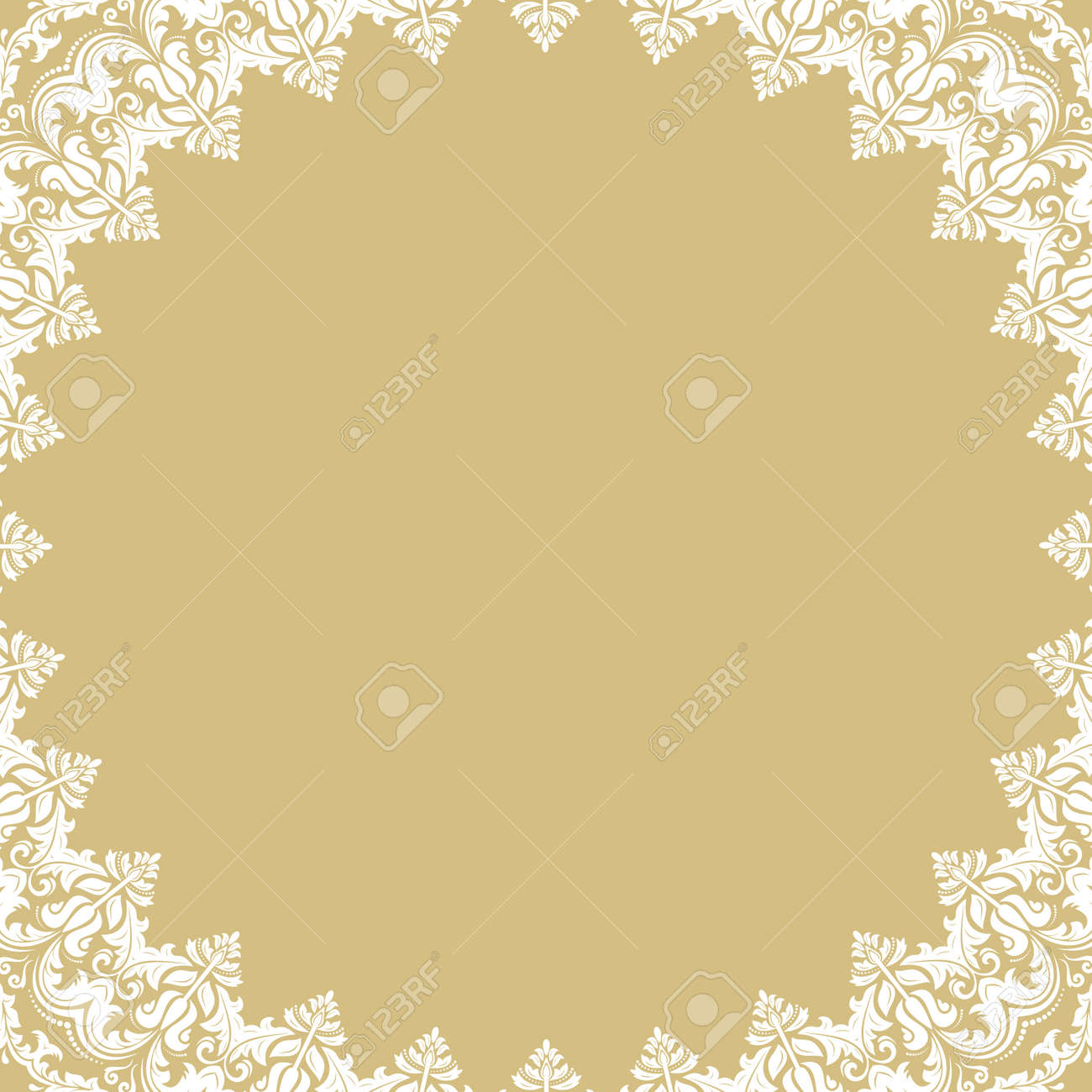 Oriental round frame with arabesques and floral elements. Floral white border with vintage pattern. Greeting card with place for text - 169559490