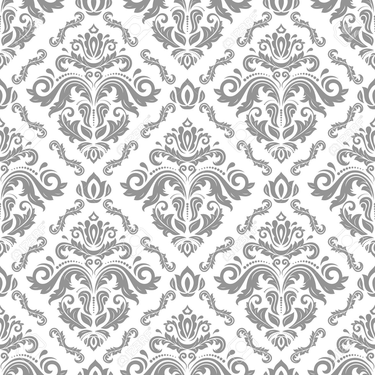 Classic seamless pattern. Damask orient ornament. Classic vintage background. Orient light silver ornament for fabric, wallpaper and packaging - 169559492