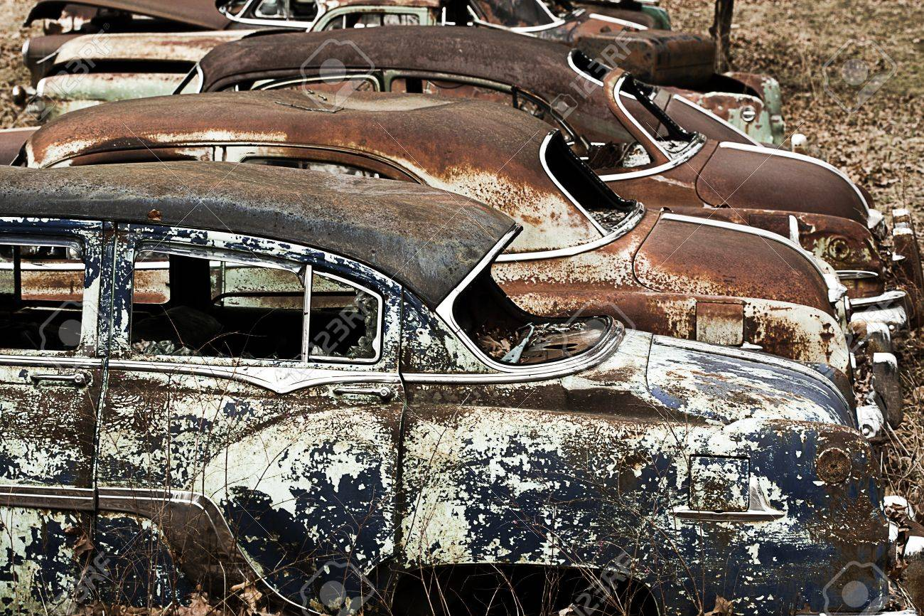 Junkyard Vintage Automobiles Stock Photo, Picture And Royalty Free ...