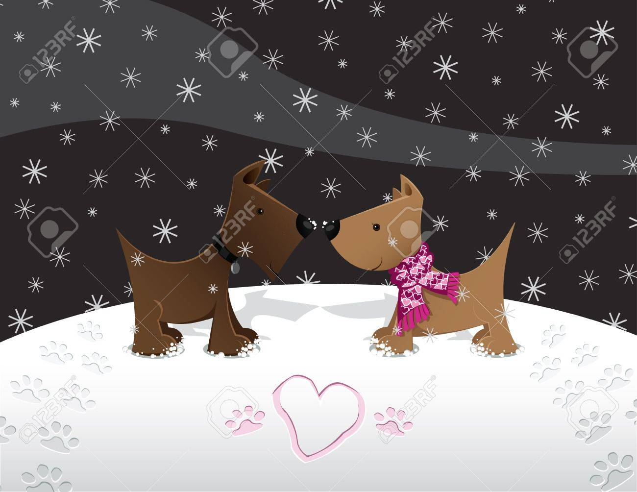 Puppies in Love   in the Snow Stock Vector - 15023075