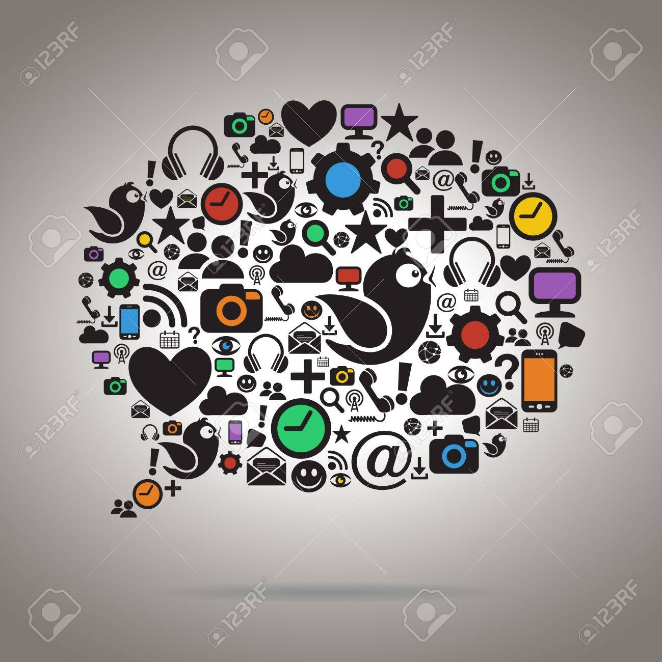 Colorful Social Media Speech Bubble Stock Vector - 20763065