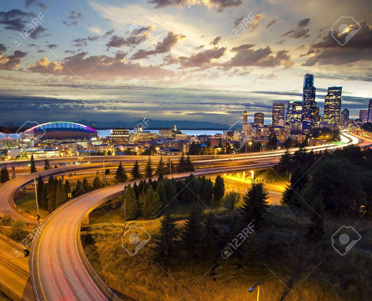 Beautiful Nightview Of Seattle Stock Photo Picture And Royalty Free Image Image 37031398