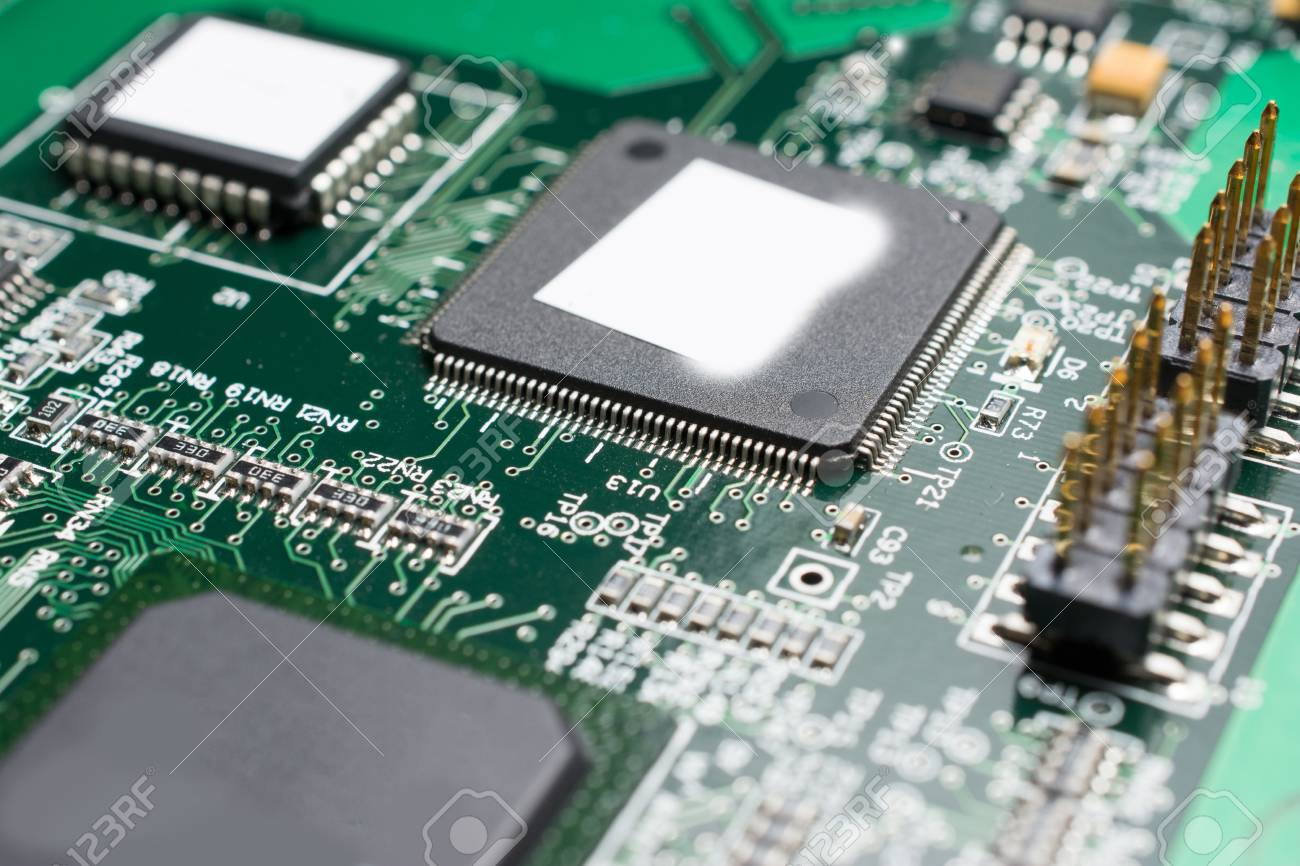 detail of an electronic printed circuit board with many electrical rh 123rf com Circuit Board Illustration Circuit Board Parts Identification