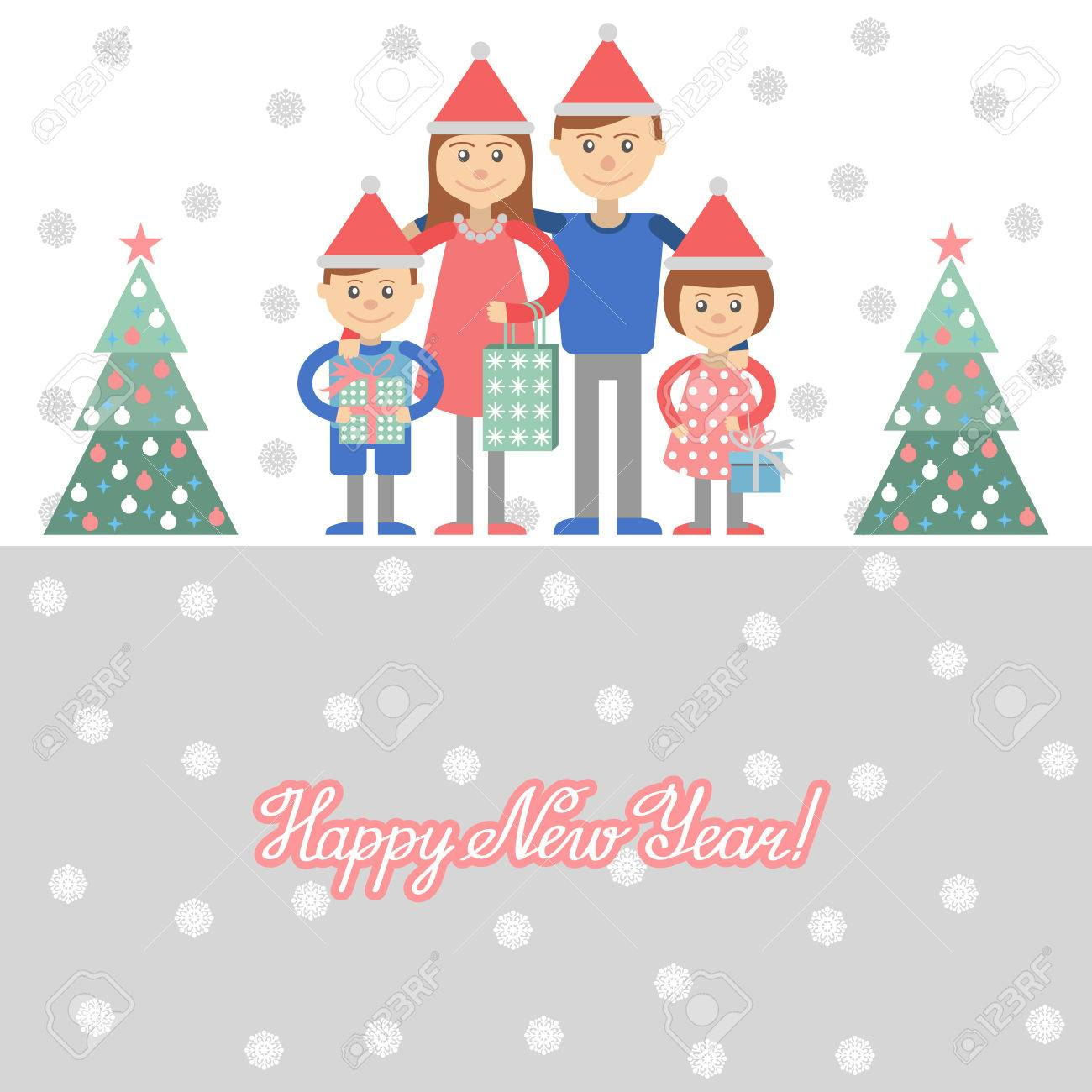 Parents And Kids With Christmas Shopping. Vector Illustration ...