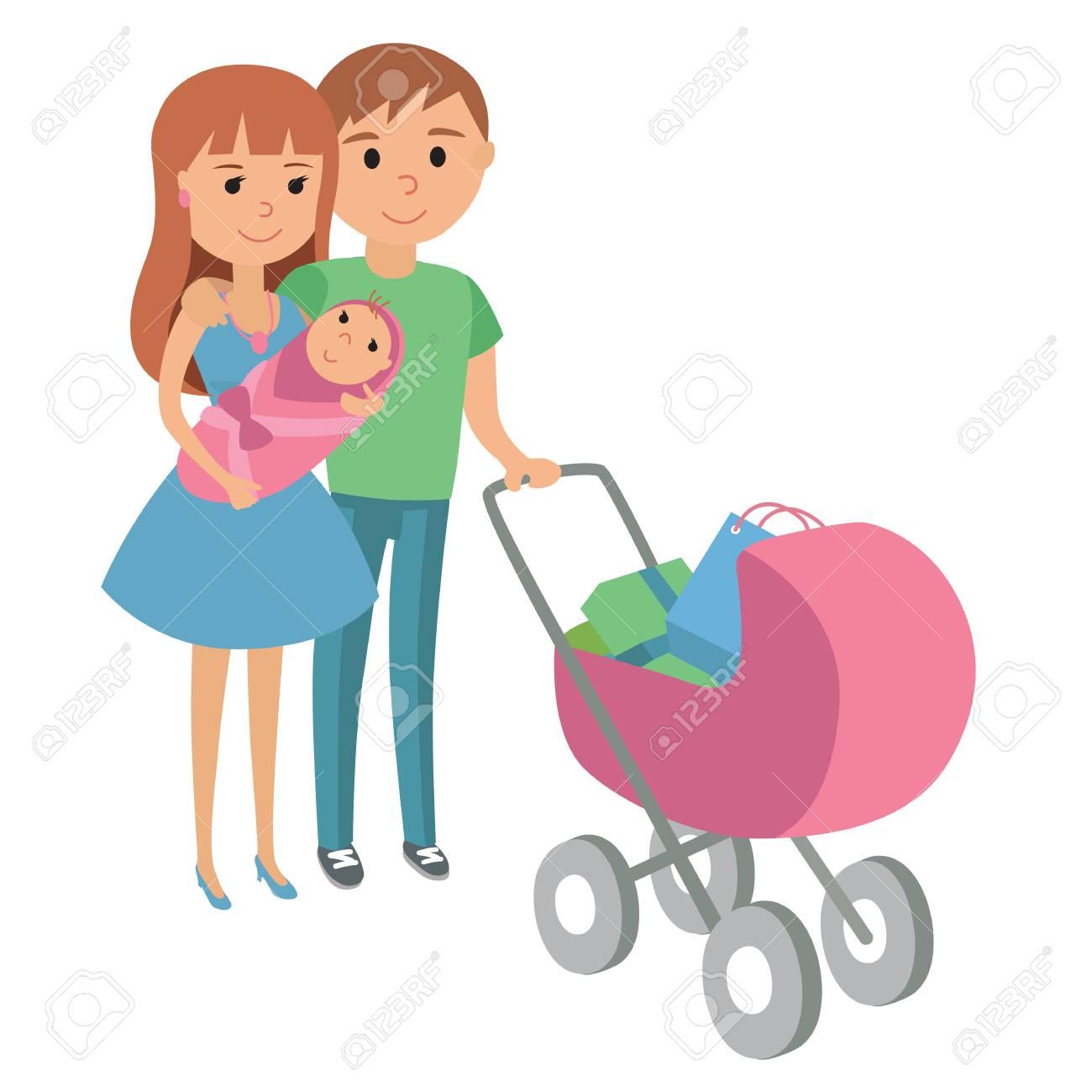 Madre Con Hija Y Bebé En Icono De Cochecito Rojo, Madre