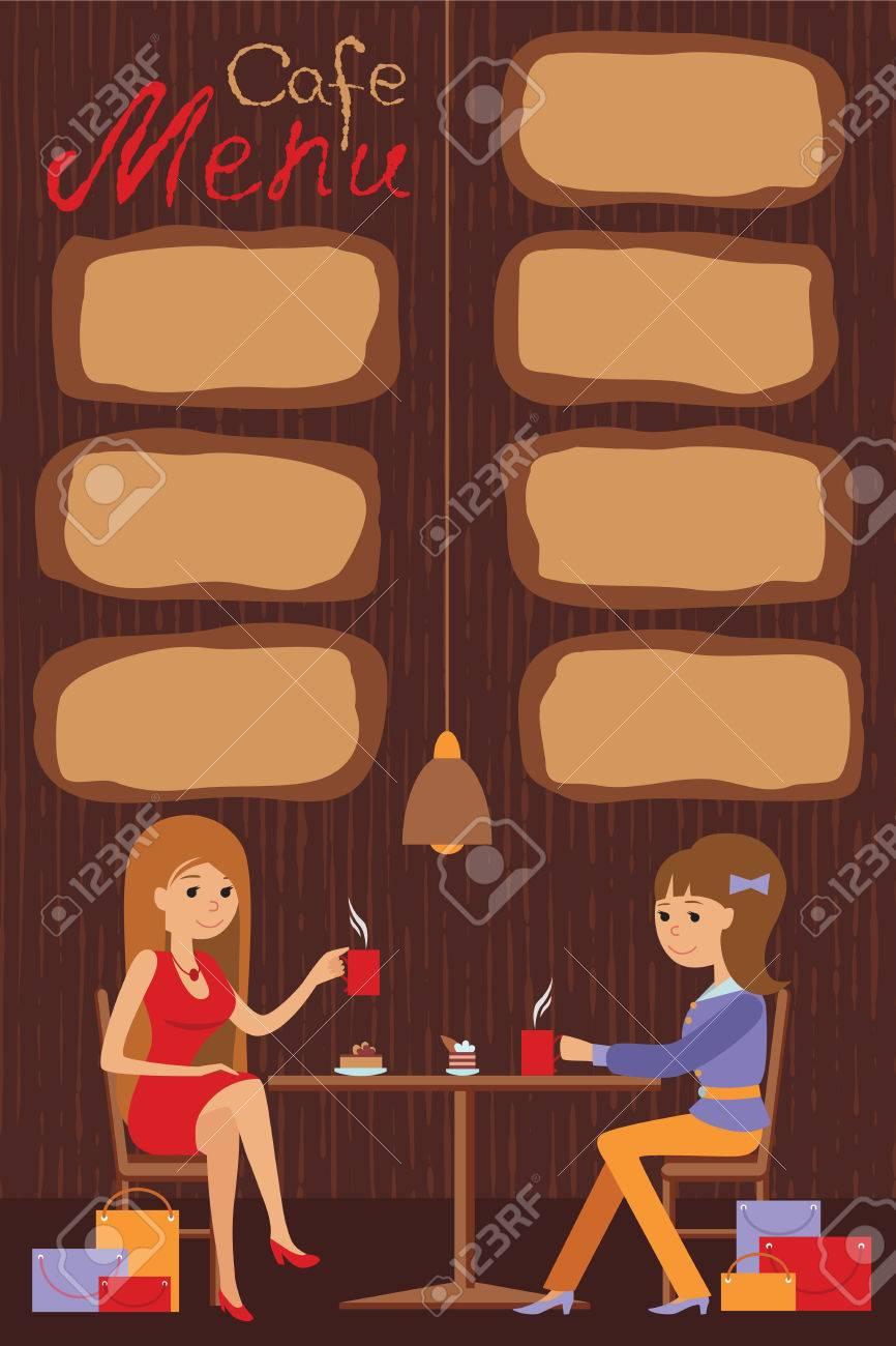 Zwei Schöne Frauen Im Café Trinken Kaffee Und Tee Sitzen. Vektor ...