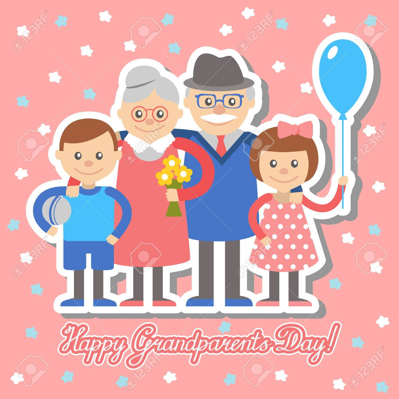 Grandmother and grandfather and grandchildren greeting card for grandmother and grandfather and grandchildren greeting card for grandparents day stock vector 61304506 m4hsunfo