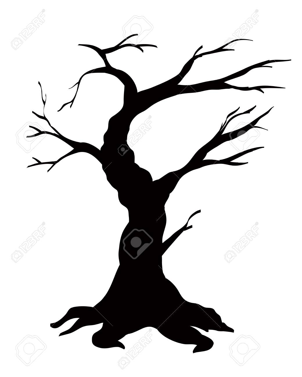 Tree black silhouette isolated on white background - 65220990