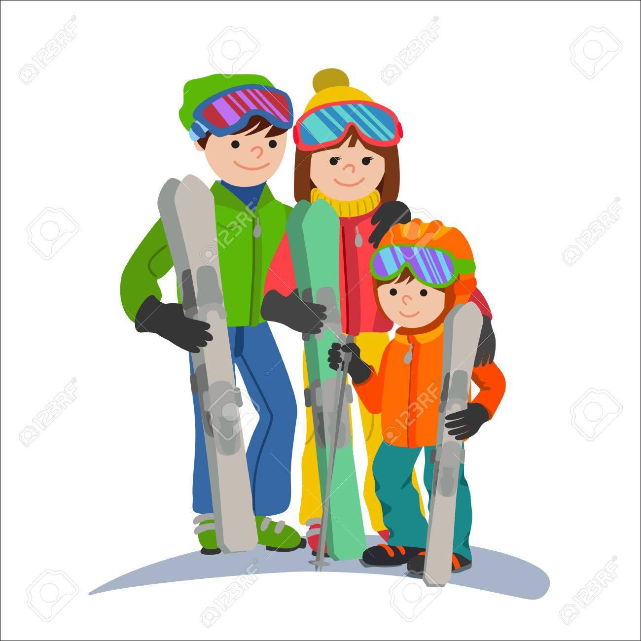 イラスト カップル親子は冬のスポーツです。山で家族と休暇
