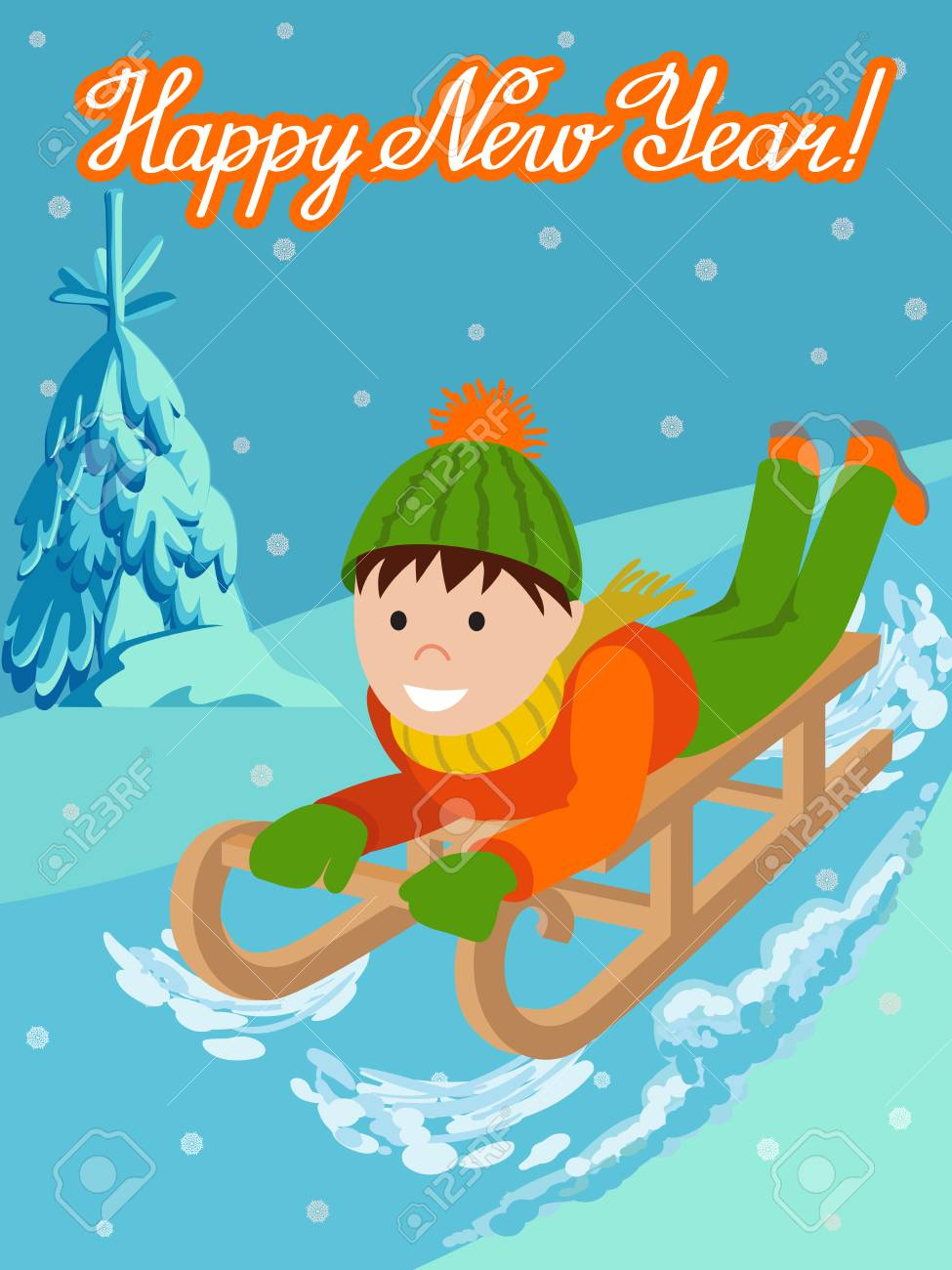 cute child on snow sledding vector illustration new year card with little boy on sled