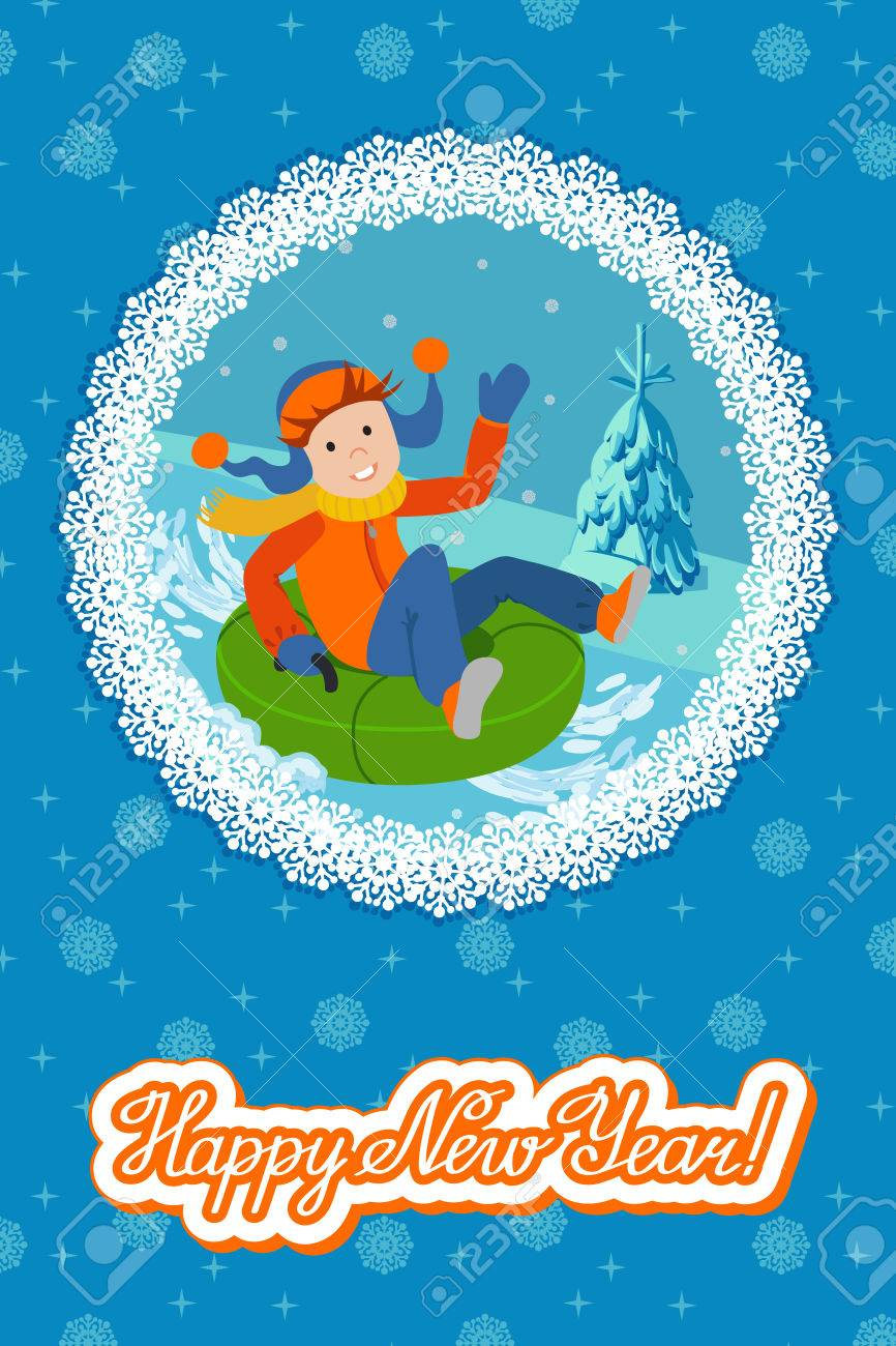 cute child on snow tubing vector illustration new year card stock vector 67406790
