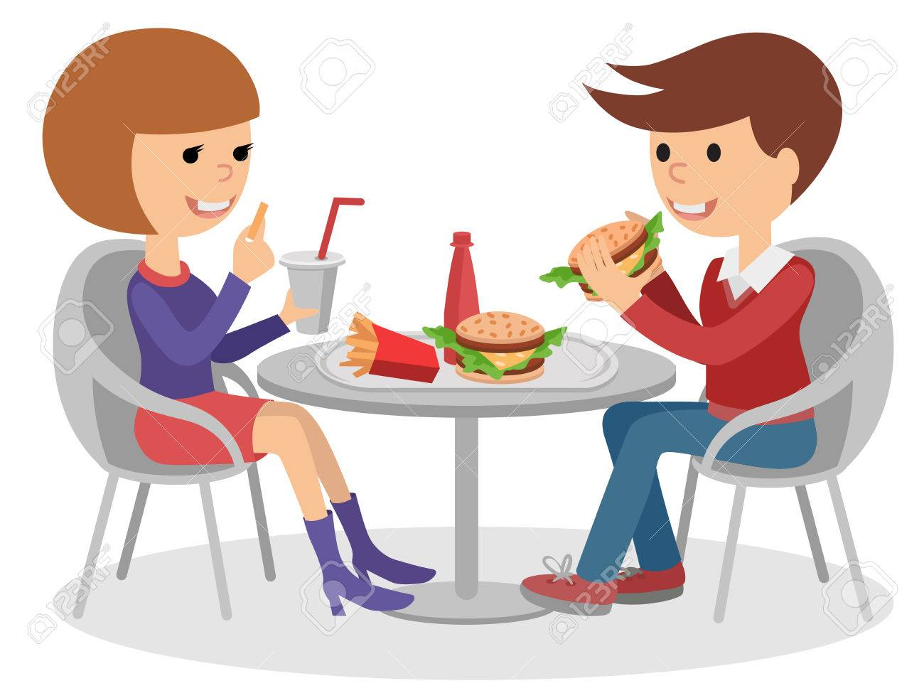Girl And Boy Eating Fast Food Vector Illustration Of A People At Table With Sandwiches