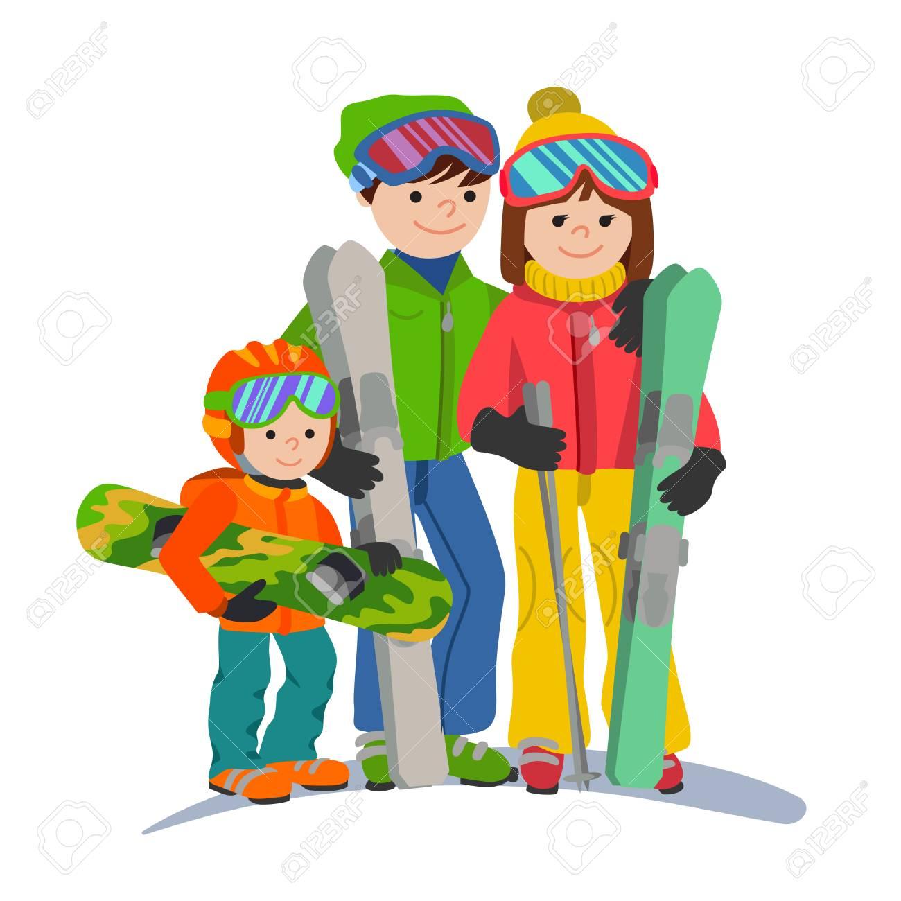 山の家族スキー休暇。イラスト カップル親と子冬分離スポーツ ホワイト