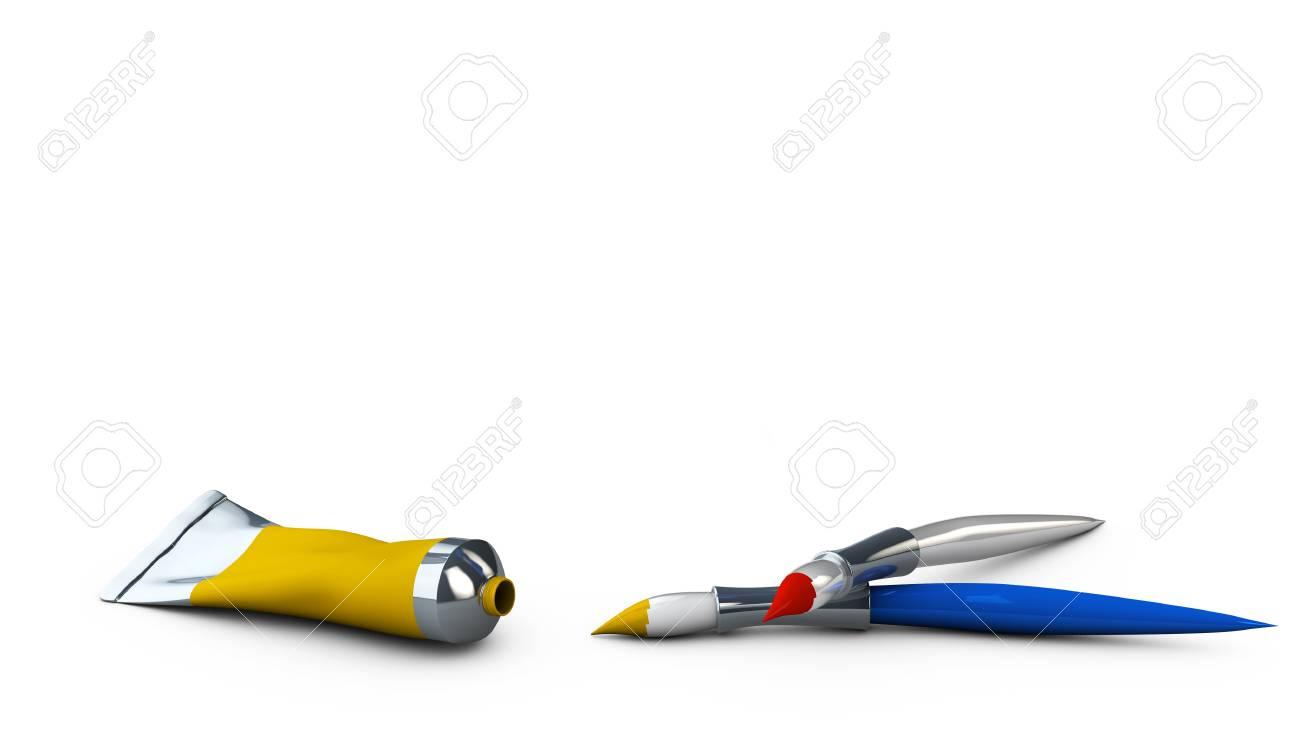 Illustration 3D de tubes de peinture à l'