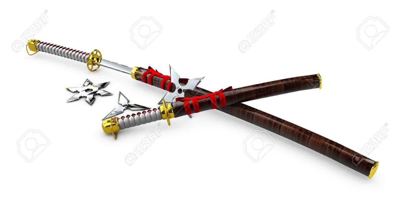日本刀侍は孤立した武器を設定します3 D イラスト の写真素材