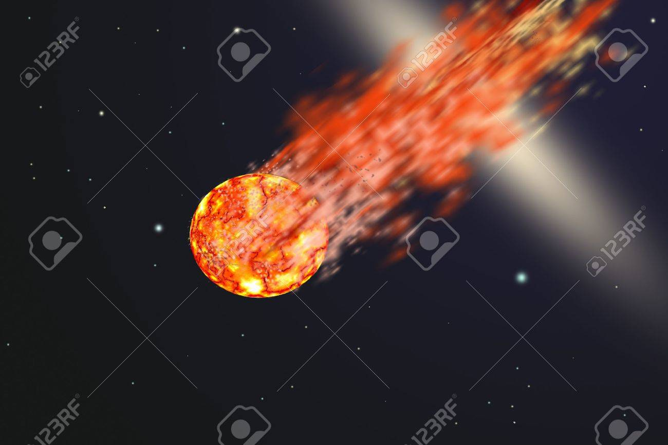 Asteroid with tail of fire - 15176473