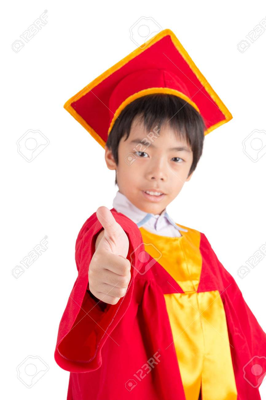 Cute Little Boy Wearing Red Gown Kid Graduation With Mortarboard ...