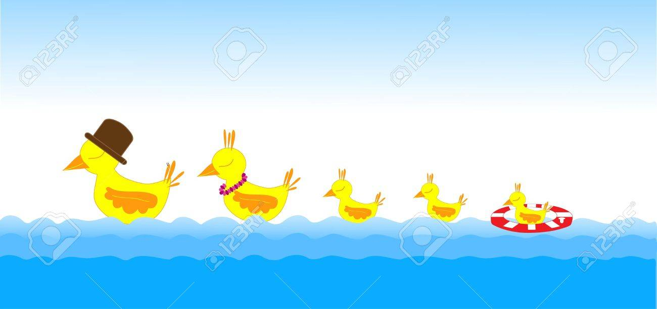 Mother duck, father duck and baby ducks swimming in the sea Stock Vector - 10763963