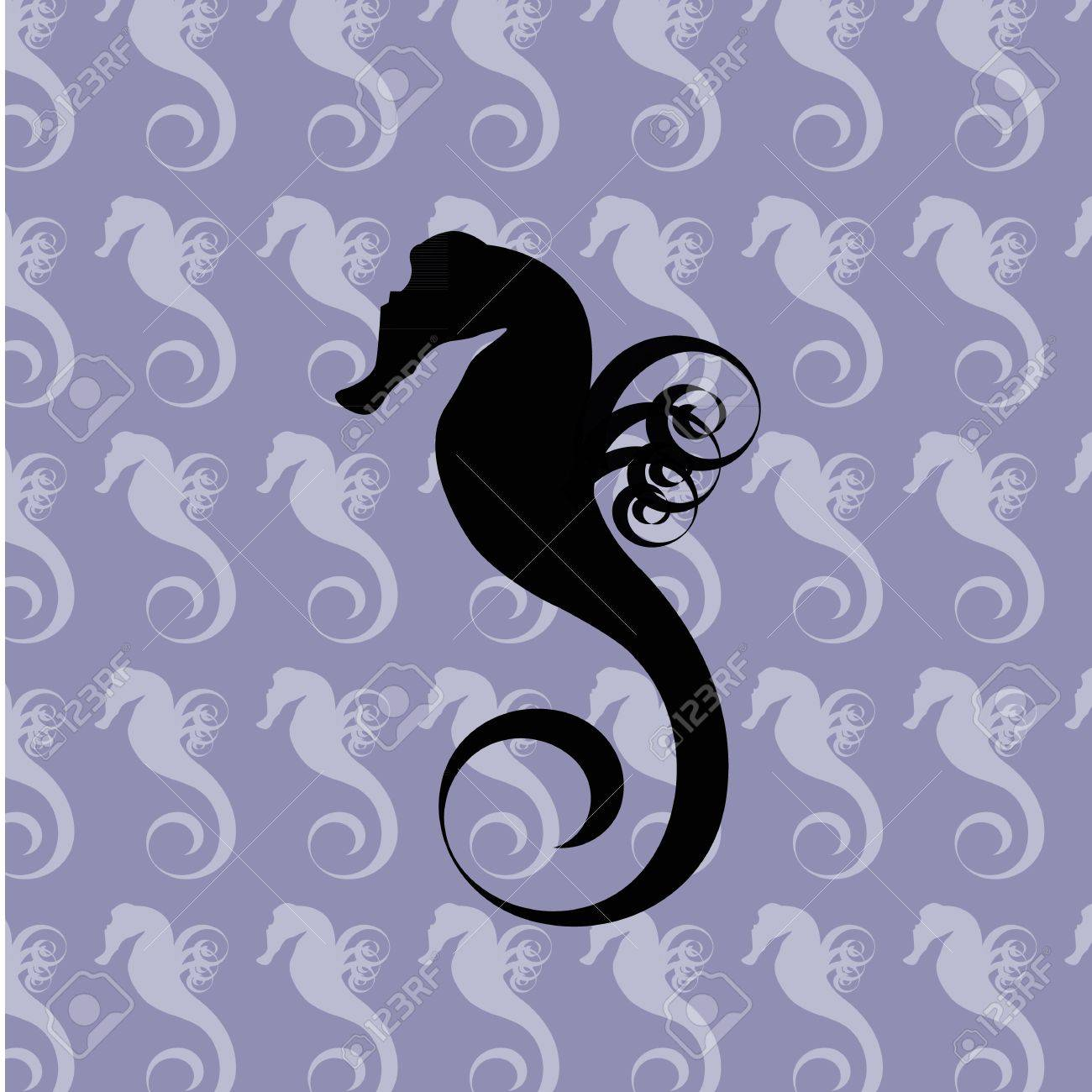 Black silhouette of a sea horse on the blue seamless background filled with light sea horses Stock Vector - 11043520