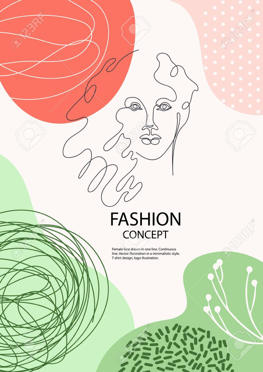 Female Face Drawn In One Line Silhouettes Of Flowers Fashion Royalty Free Cliparts Vectors And Stock Illustration Image 136026740