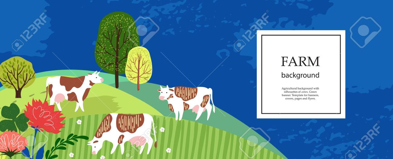Agricultural Background Cows In The Pasture Silhouettes Of Royalty Free Cliparts Vectors And Stock Illustration Image 137165622