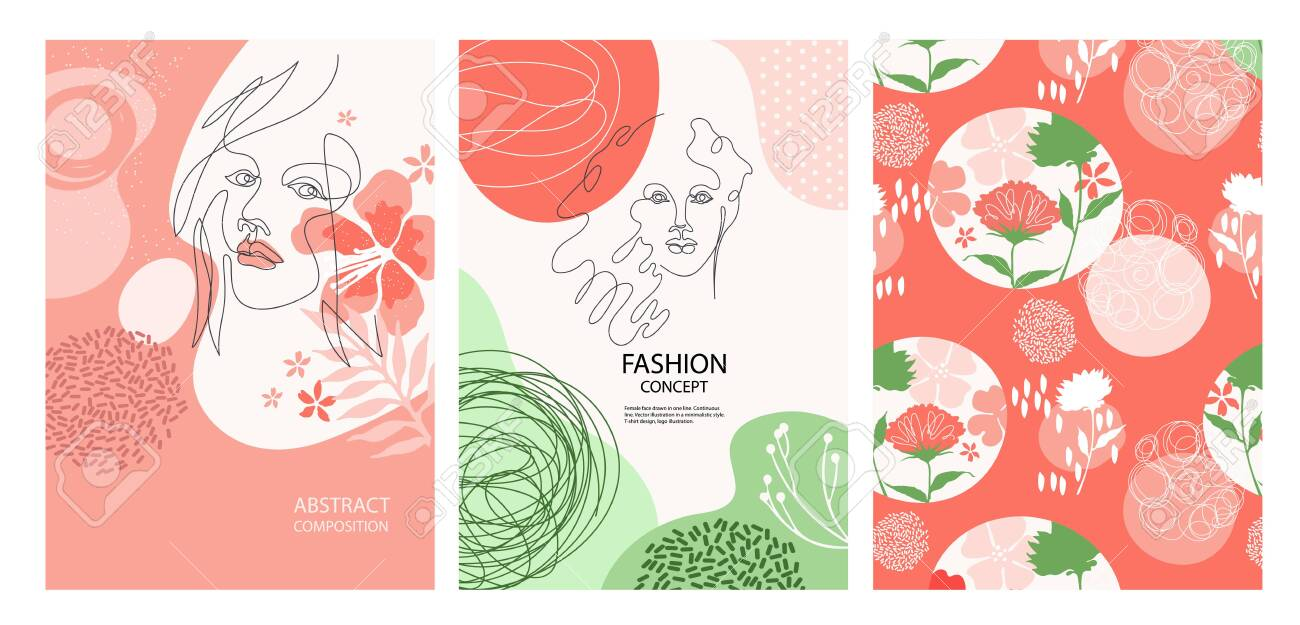 Set Of Fashion Banners Female Face Drawn In One Line Silhouettes Royalty Free Cliparts Vectors And Stock Illustration Image 138583437
