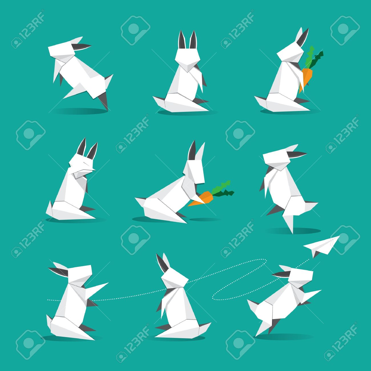 Cute Origami White Rabbit Royalty Free Cliparts Vectors And Stock