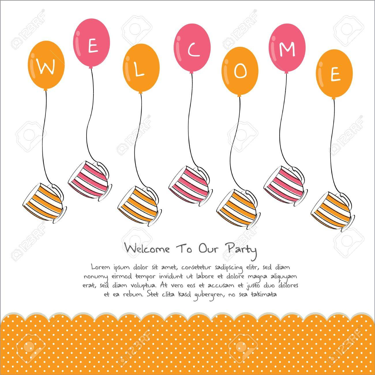 Cute Tea Party Invitation Card With Balloon Royalty Free Cliparts – Welcome Party Invitation Cards