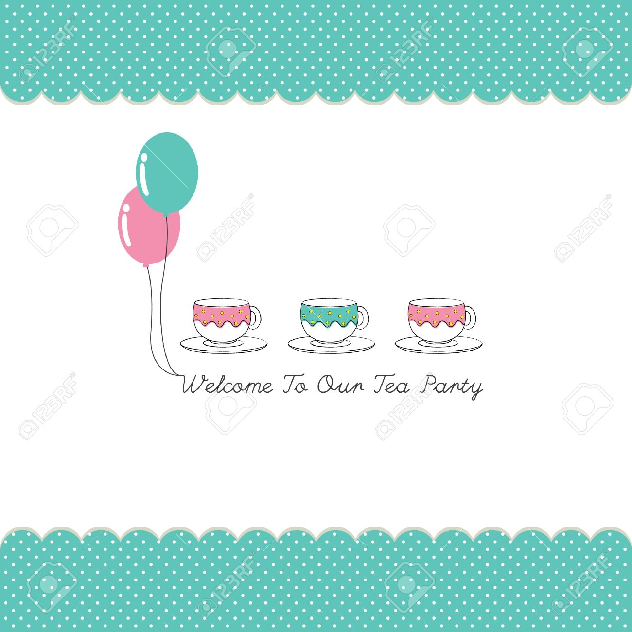 Cute Tea Party Invitation Card With Polka Dots Royalty Free ...
