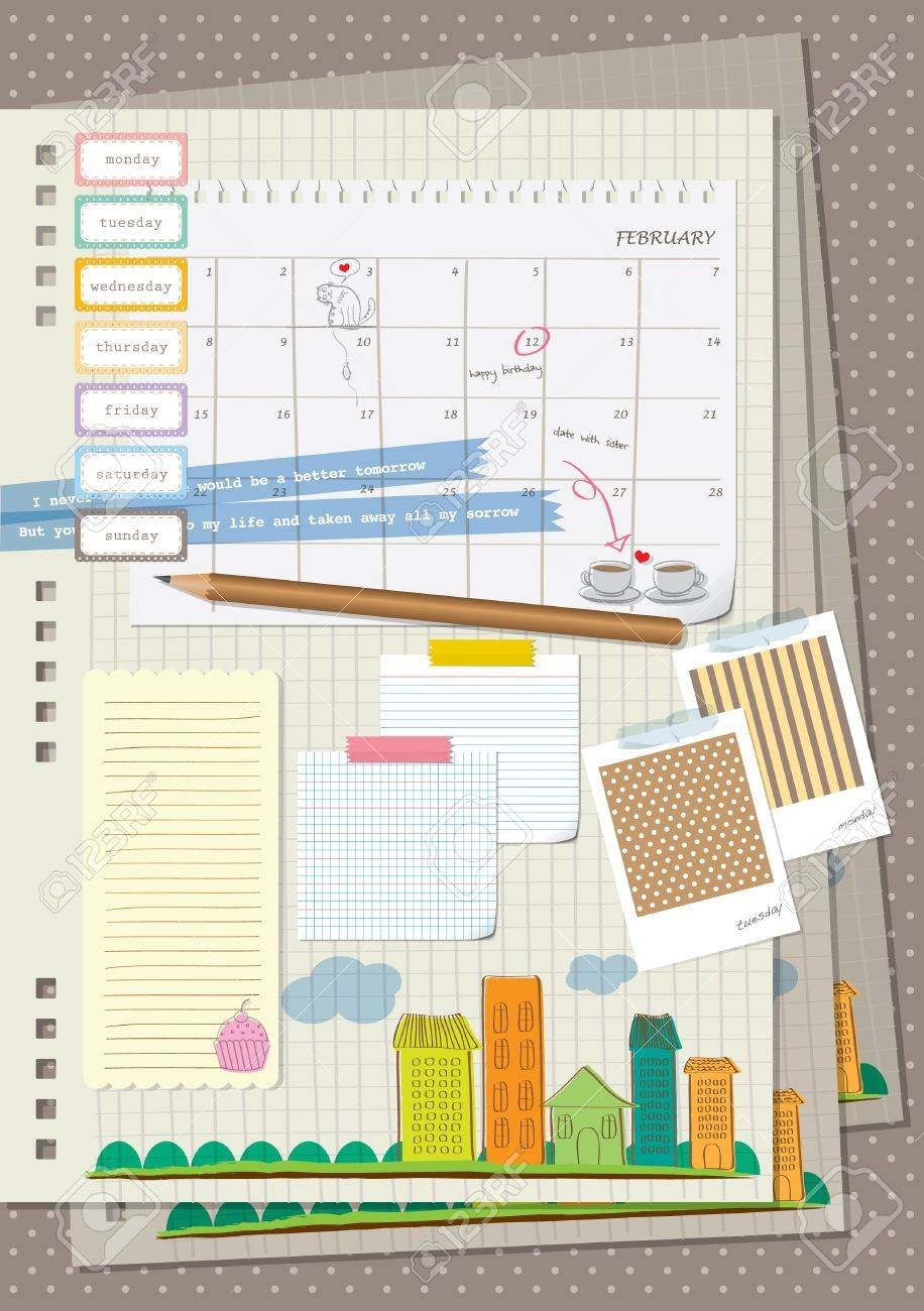 Scrapbook paper book - Scrapbook Element My Diary Stock Vector 18689076